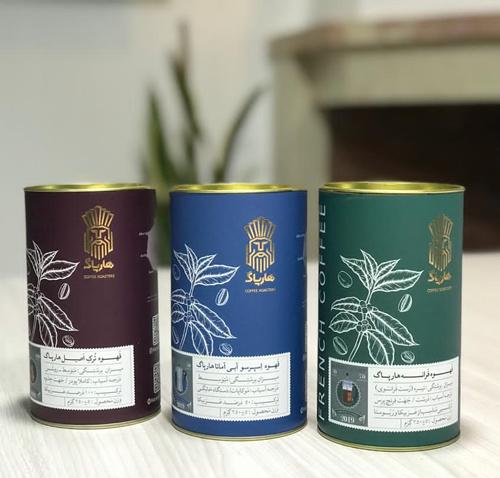نمونه بسته بندی قوطی قهوه